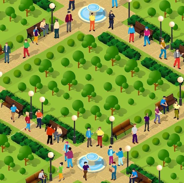 人々と都市公園 Premiumベクター