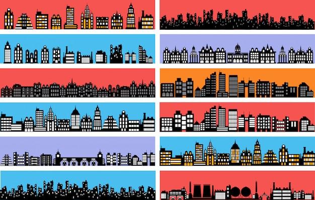 Набор силуэтов городской пейзаж Premium векторы