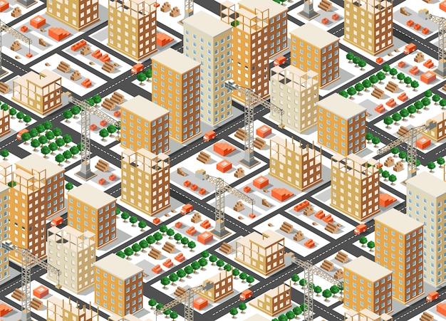 シームレスパターン都市計画 Premiumベクター
