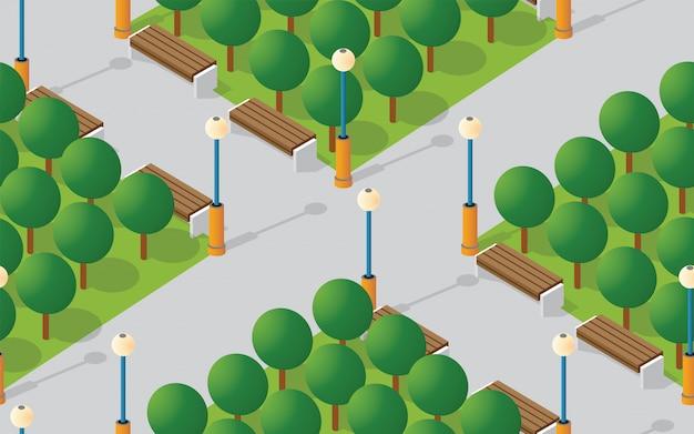 Парк-сити с деревьями газонов Premium векторы