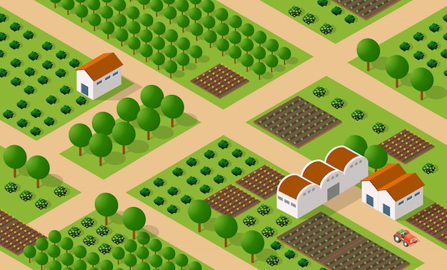 農村等尺性牧場ファーム Premiumベクター