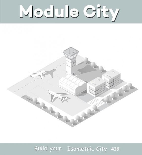 市内の空港の等尺性地図 Premiumベクター