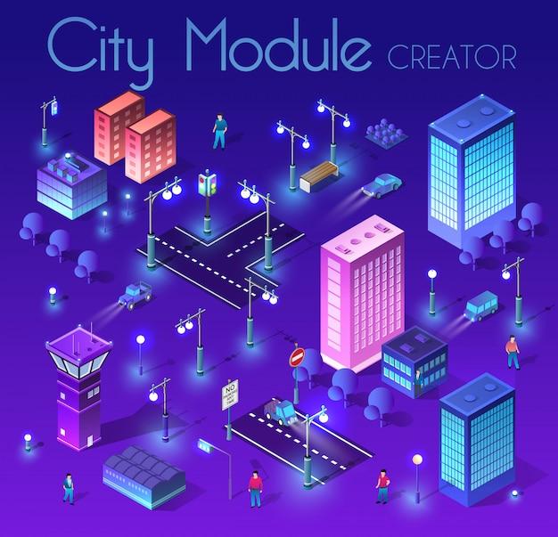 Ночной городской пейзаж ультрафиолетовой архитектуры Premium векторы