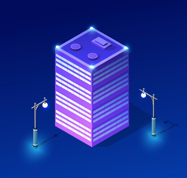 夜の街並みの紫外線建築 Premiumベクター