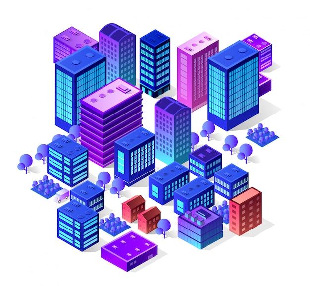 バイオレット色のモダンな建物の等尺性都市セット Premiumベクター