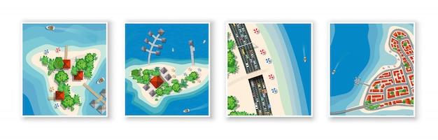 Вид сверху на остров рай из морских пейзажей Premium векторы