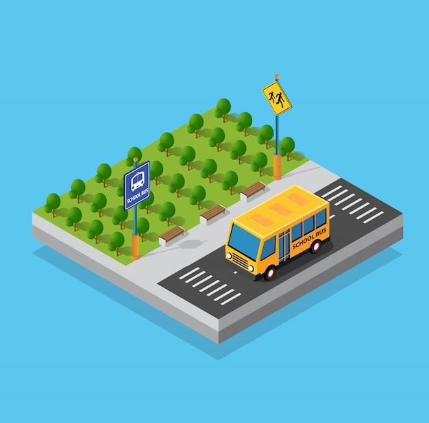 Школьный автобус на улице, парковка Premium векторы