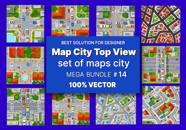 Карта города, вид сверху, набор архитектуры Premium векторы
