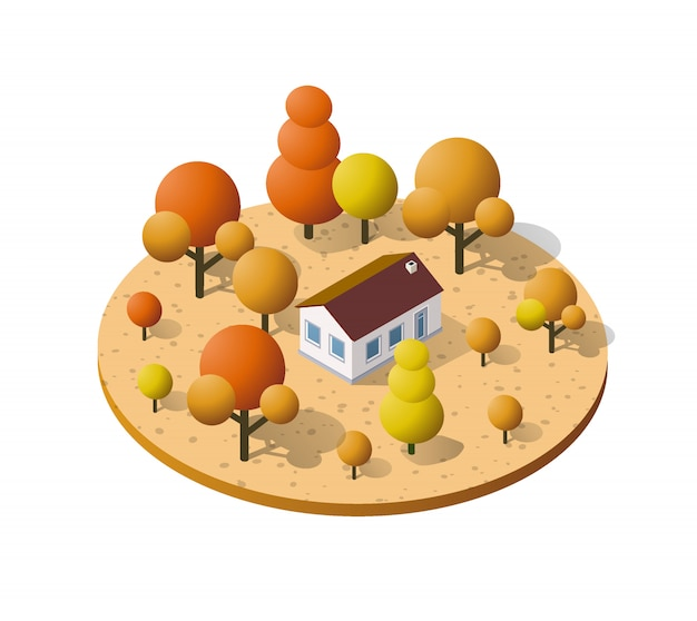 Загородная ферма с деревьями осенью Premium векторы