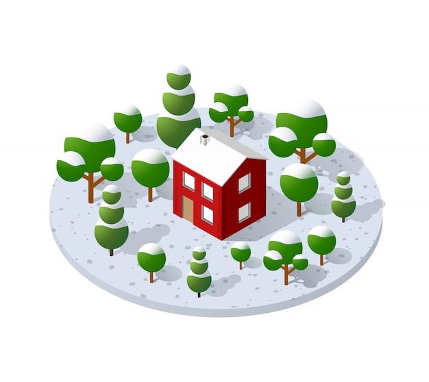 Загородная ферма с деревьями зимой Premium векторы