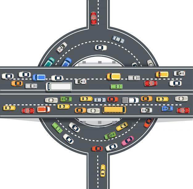 高速道路の多くの異なる車両と道路のトップビュー Premiumベクター