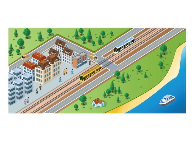 Изометрические прибытие поезда и пассажиров Premium векторы