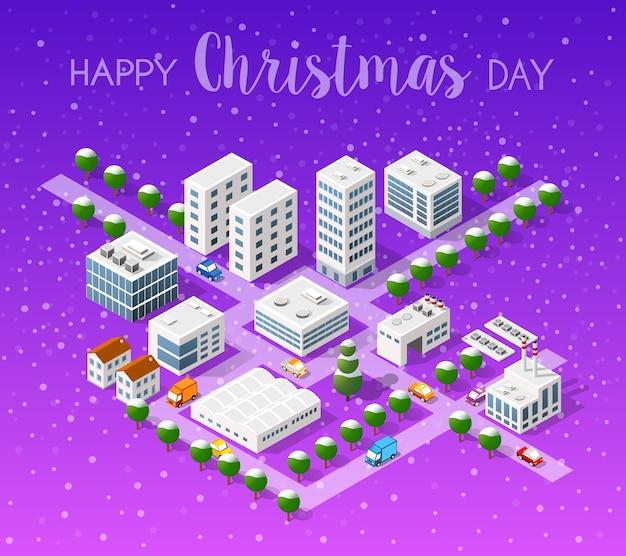 冬のクリスマスの風景 Premiumベクター