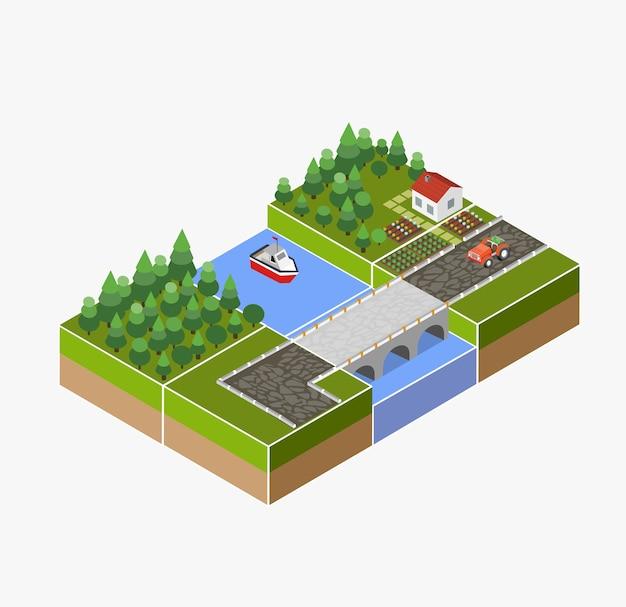 農場、トラクター、収穫、ベッド、川のある田舎の等尺性景観。 Premiumベクター