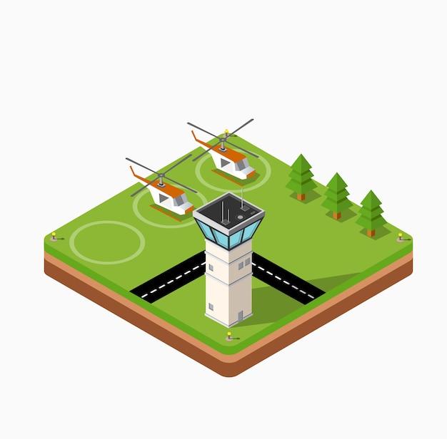 都市の空港、木々と建物と飛行ヘリコプターの等角写像 Premiumベクター
