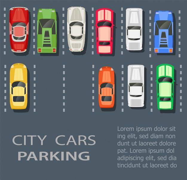 さまざまな車のセットと市内の駐車場のトップビュー Premiumベクター