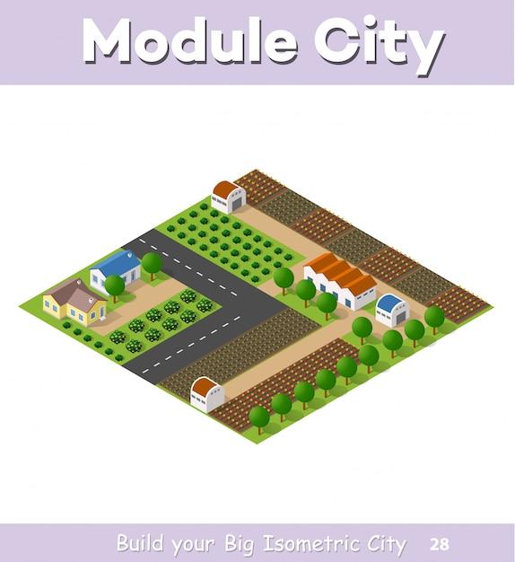 道路、通りがあるタウンハウスと農家のカントリービレッジ Premiumベクター
