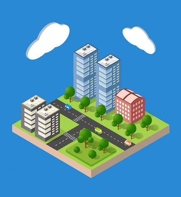 アイソメート都市都市 Premiumベクター