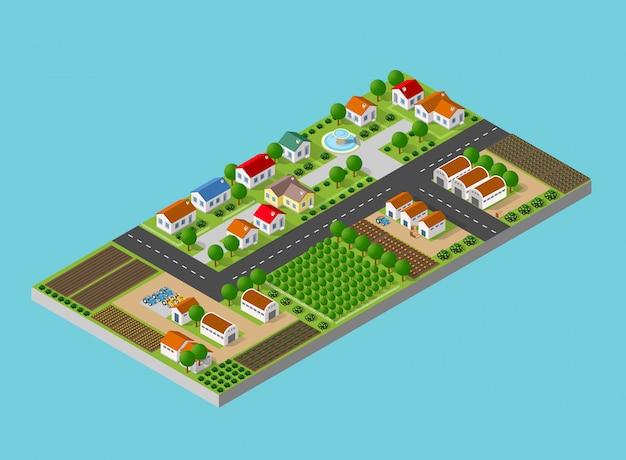 Сельский пейзаж с природой Premium векторы