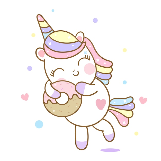 かわいいユニコーンベクトル愛ドーナツ漫画 Premiumベクター