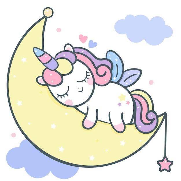Милый единорог вектор спит на луне мультфильм Premium векторы