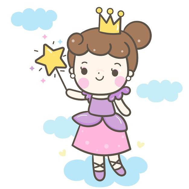 魔法の杖の漫画を保持しているかわいい角度女の子ベクトル Premiumベクター