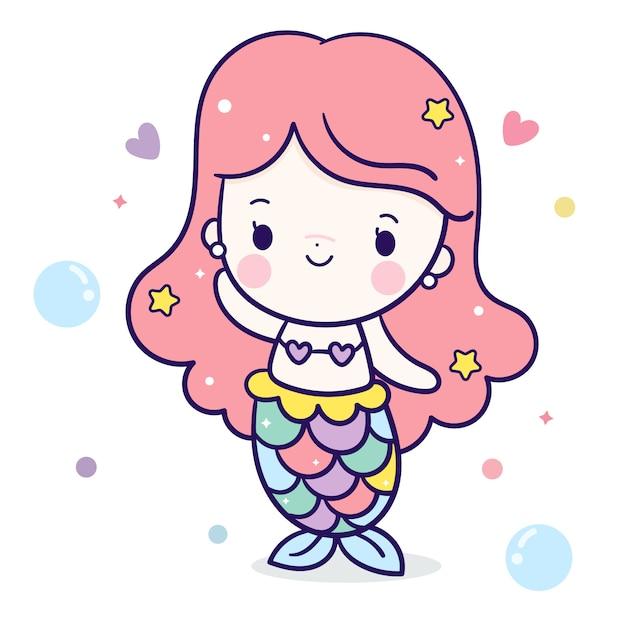 かわいい人魚の少女漫画かわいいキャラクター Premiumベクター