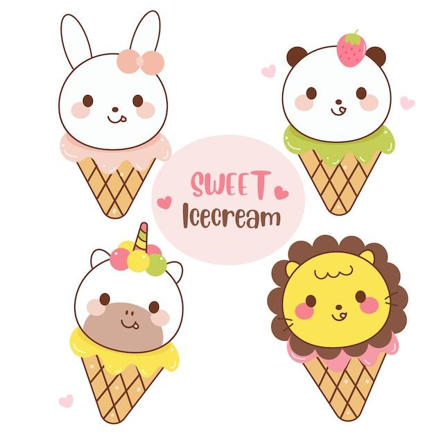 動物のアイスクリームコレクション漫画のイラスト Premiumベクター