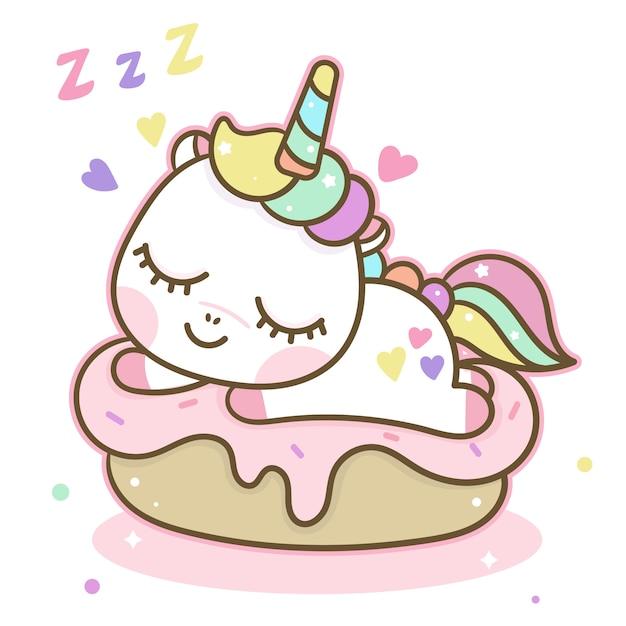 カップケーキでかわいいユニコーン睡眠 Premiumベクター