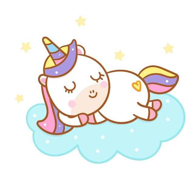 かわいいユニコーン漫画の上で寝る手描きスタイル Premiumベクター