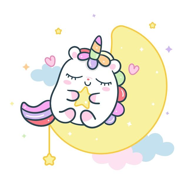 星を保持している月のかわいいユニコーンベクトル Premiumベクター