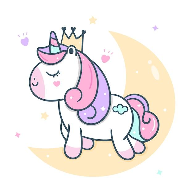 Милый принцесса единорог вектор на луну Premium векторы