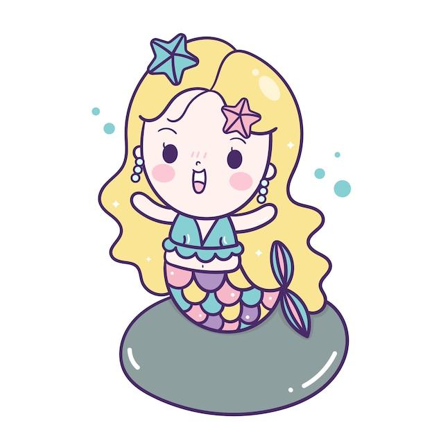 Милая русалка вектор маленькая девочка мультфильм Premium векторы