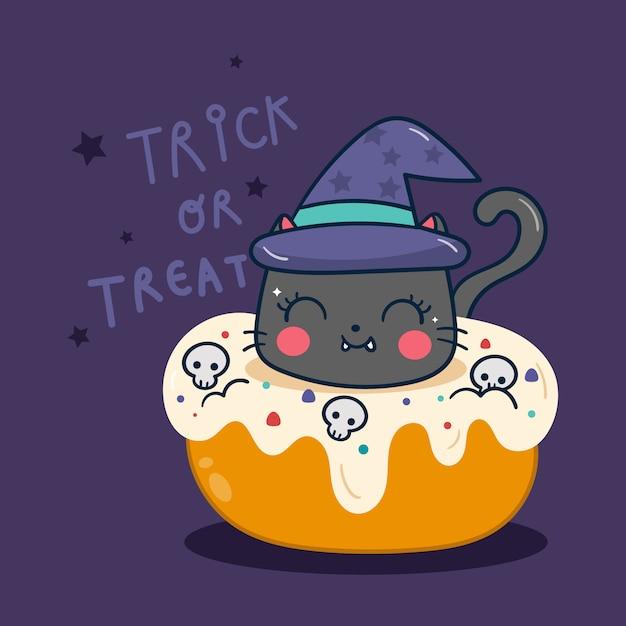 カップケーキカボチャ漫画とかわいいハロウィーン猫 Premiumベクター