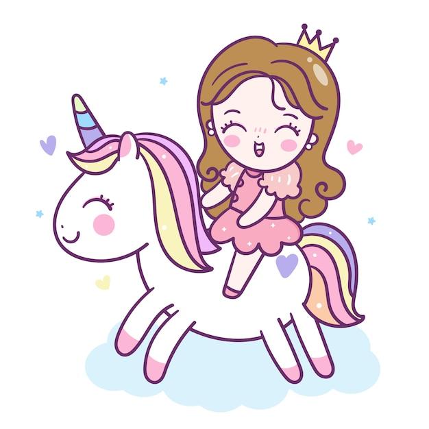 Мультфильм принцесса ездить на единороге Premium векторы
