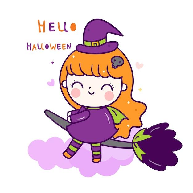かわいい魔女ハロウィーン漫画 Premiumベクター