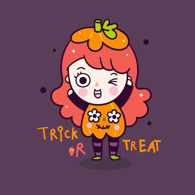 かわいい女の子のハロウィーン漫画着用パンプキンコスチューム落書きスタイル Premiumベクター