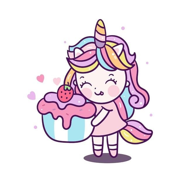 Милая девушка-единорог держит кекс Premium векторы