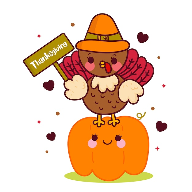 感謝祭のラベルを保持しているかわいいトルコベクトル Premiumベクター