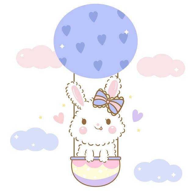 バルーン漫画でかわいいウサギのウサギベクトル Premiumベクター