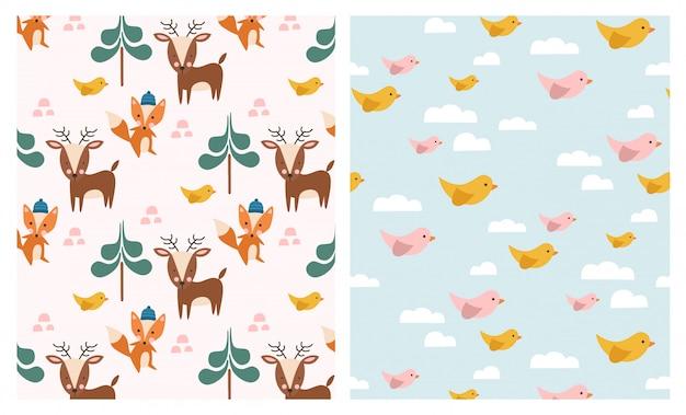 かわいい森の動物のシームレスパターンセット Premiumベクター