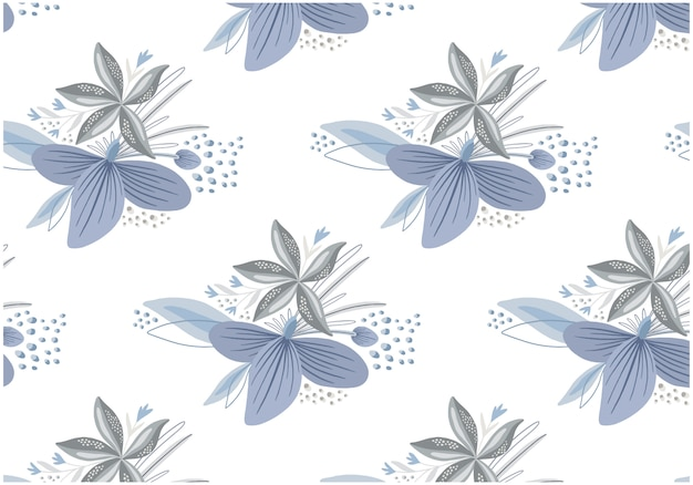 平らな冬の花のシームレスパターンセット Premiumベクター