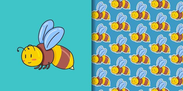 蜂と青のシームレスパターン Premiumベクター