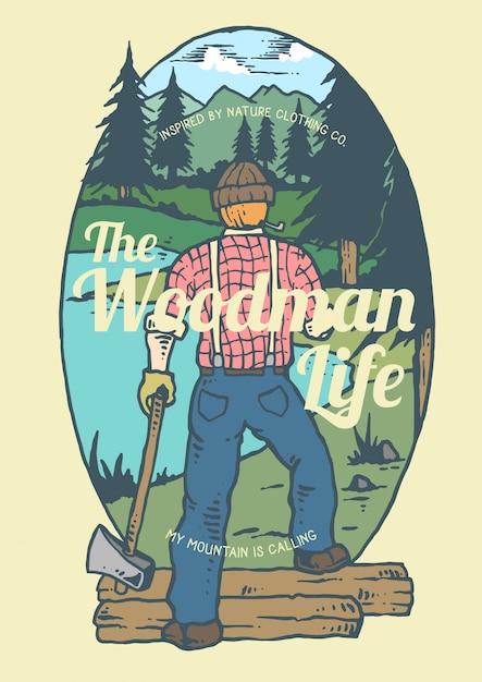 川と山の背景を持つ材木の男 Premiumベクター