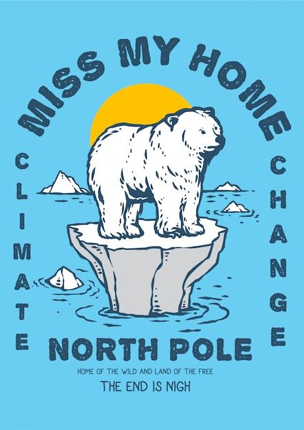Иллюстрация белого медведя на краю тонкого льда из-за изменения климата глобального потепления Premium векторы