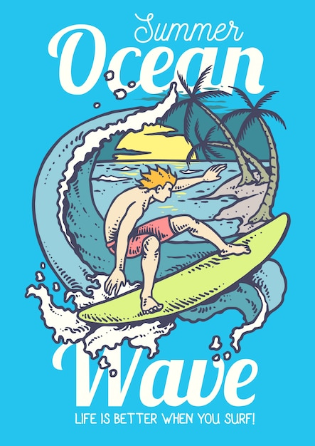海でサーフィンをしている男のベクトル図 Premiumベクター