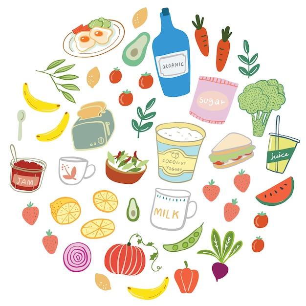 手描きの食べ物や飲み物のベクトル図 Premiumベクター