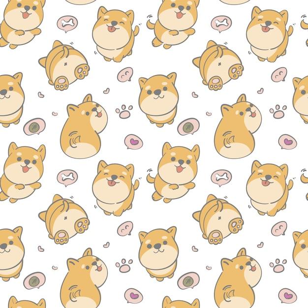 シームレスパターン手描きかわいい柴犬 Premiumベクター