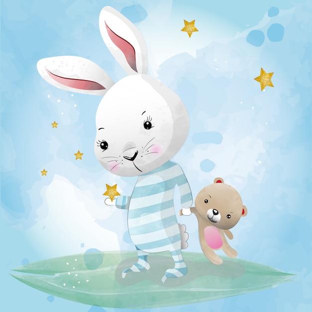 水彩画で描かれた赤ちゃんウサギかわいいキャラクター Premiumベクター