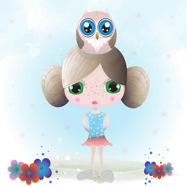 水彩画で描かれた女の赤ちゃんかわいいキャラクター Premiumベクター
